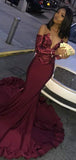 Fashion Off The Shoulder Long Sleeves Sequin Mermaid Long Evening Prom Dresses, PD0011