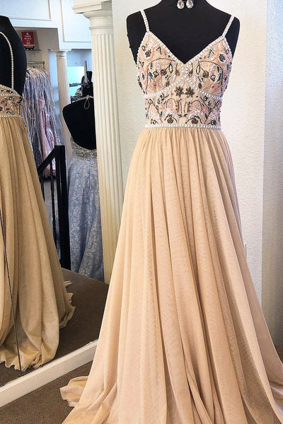 Unique Embroidered Backless Lace Up Tulle A Line Long Evening Prom Dresses, PD0024