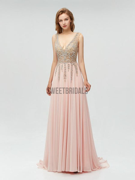 Sexy V Neck Chiffon V Neck A-line With Beads Long Prom Dresses, MD609