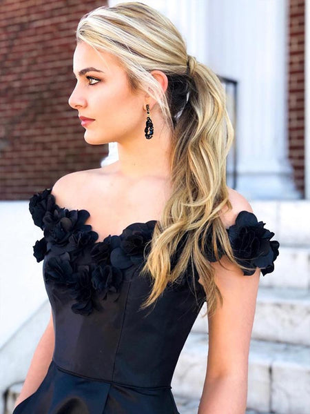 Chic Off Shoulder Black Satin Applique Long Evening Prom Dresses, PD0030