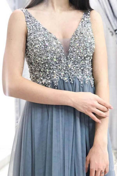 Sleeveless Beaded Tulle A Line Floor Length Long Evening Prom Dresses, PD0026