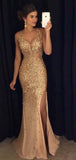 Gold Sleeveless Rhinestone Mermaid Long Evening Prom Dresses, PD0027