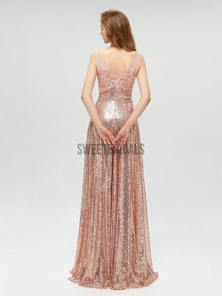 Sparkly Sequin Sleeveless V Back A-line Long Prom Dresses, MD608