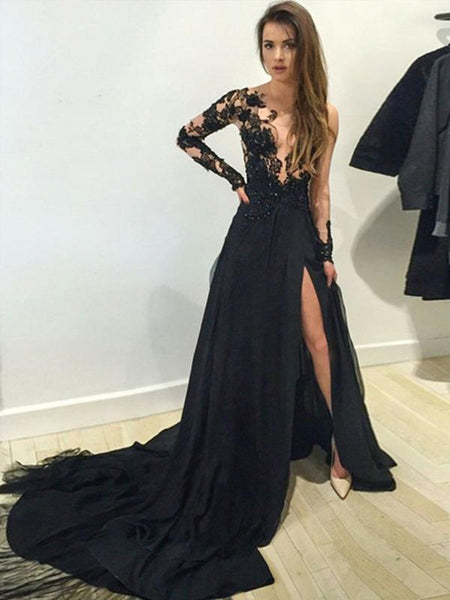 Black Lace Applique Side Slit A Line With Train Long Evening Prom Dresses, PD0016