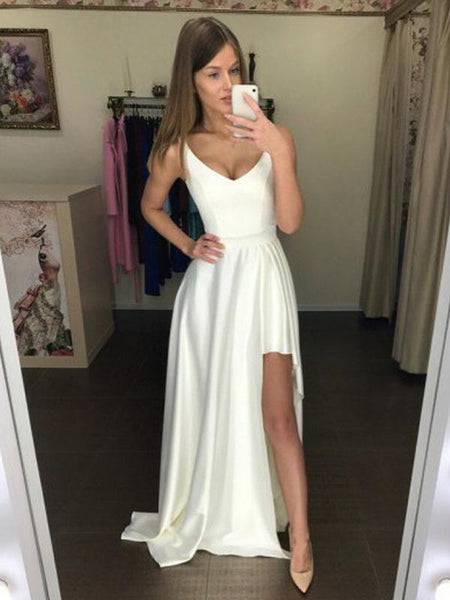 Irregular Sleeveless High Low Satin A Line Long Evening Prom Dresses, PD0004