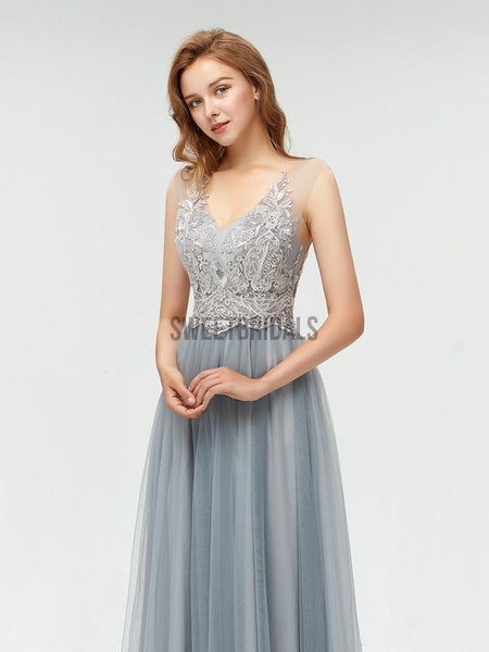 Elegant V Neck Lace Top Tulle A-line Floor Length Long Prom Dresses, MD606