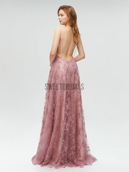 Pretty Deep V Neck Backless A-line Lace Long Prom Dresses, MD604