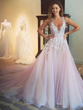 Pretty Pink Lace Top V Neck Tulle A Line With Train Long Evening Prom Dresses, PD0017