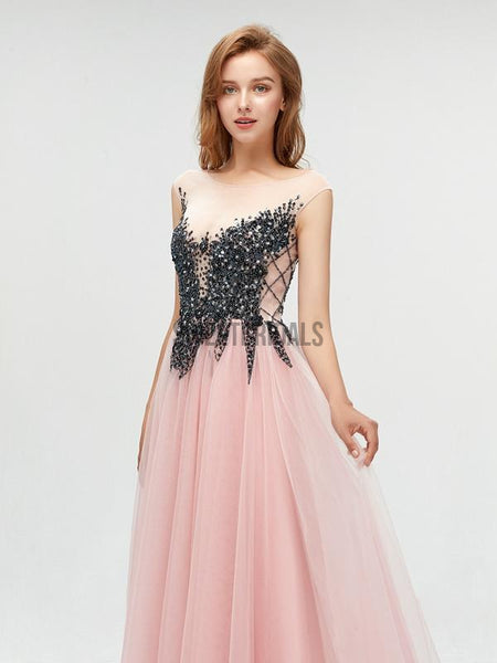 Fashion Round Neck A-line With Beads Long Prom Dresses, MD610