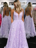 Elegant Lilac Criss Cross Lace A Line Long Evening Prom Dresses, PD0031