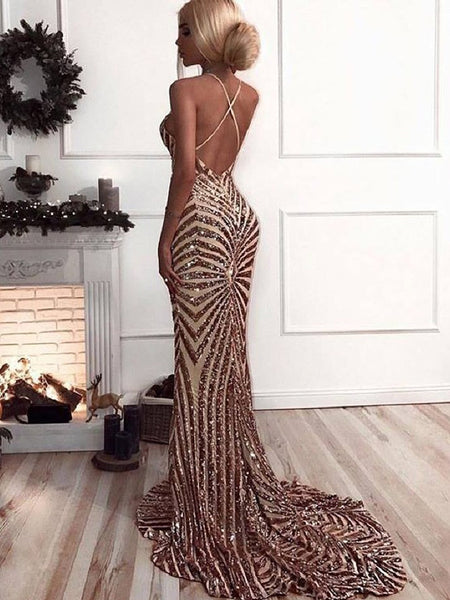 Sequin Backless Mermaid With Train Long Evening Prom Dresses, PD0032