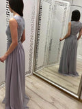 Gray Round Neck Lace Top Chiffon A Line Long Evening Prom Dresses, PD0008