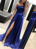 Gorgeous Royal Blue Backless Side Slit Sweep Train Evening Prom Dresses, SW0036