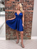 Pretty Royal Blue Spaghetti Strap V-Neck Short Homecoming Dresses, SW0027