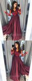 Gorgeous Burgundy Lace Top Long Sleeves Side Slit Long Evening Prom Dresses, SW0065