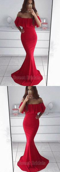 Charming Red Off the Shoulder Mermaid Long Evening Prom Dresses, SW0071