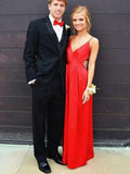 Elegant Red Spaghetti Strap V-Neck Open Back Floor Length Evening Prom Dresses, SW0077