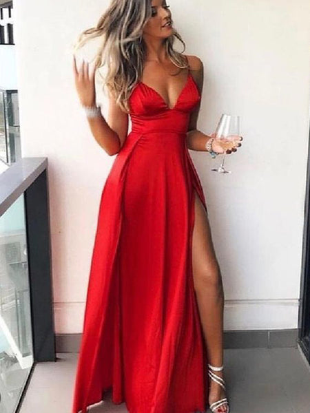 Affordable Red Spaghetti Strap V-Neck Side Slit Floor Length Evening Prom Dresses, SW0076