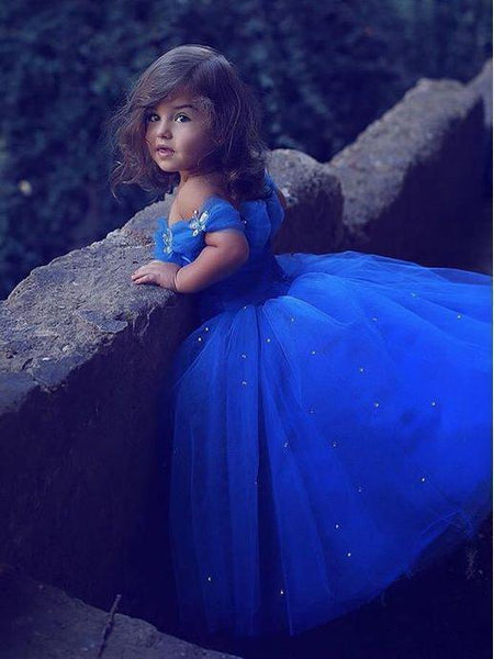 Royal Blue Off the Shoulder Flower Girl Dresses GTE2123