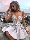 Silver Sweet Heart Spaghetti Strap Deep V-neck Short Homecoming Dresses, SW0006