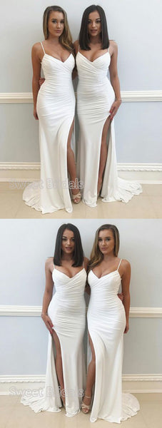 Elegant White Spaghetti Strap V-Neck Side Slit Sweep Train Evening Prom Dresses, SW0041