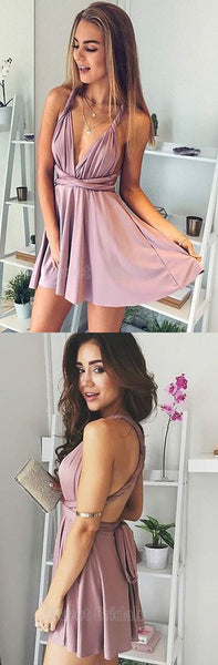 Sexy Deep V-Neck Open Back Criss-Cross Short Homecoming Dresses, SW0078