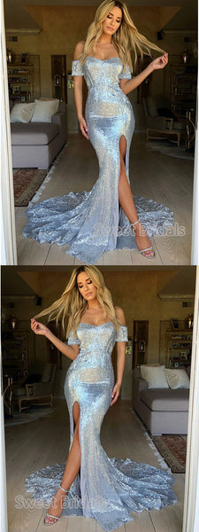 Shinning Sequin Off the Shoulder Sweet Heart Side Slit Sweep Train Evening Prom Dresses, SW0048
