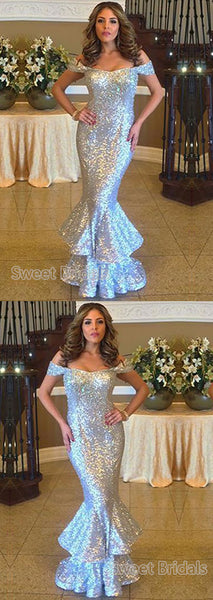 Sparkle Sequin Off the Shoulder Mermaid Floor Length Evening Prom Dresses, SW0049