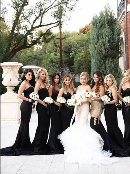 Elegant Black Spaghetti Strap Sweet Heart Sweep Train Bridesmaid Dresses , SW0014