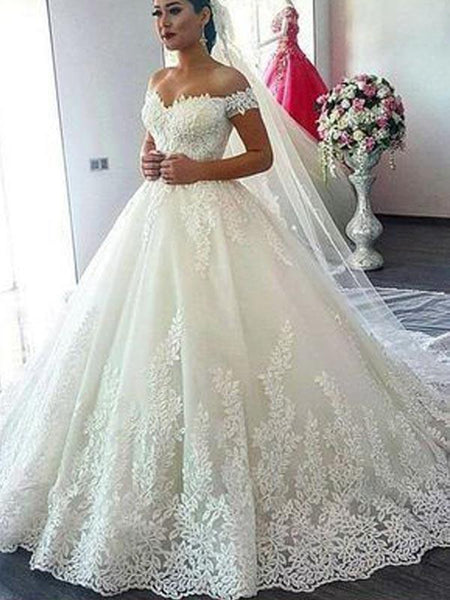 Charming Lace Off the Shoulder Wedding Dresses, BW0591
