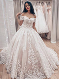 Gorgeous Off The Shoulder Lace Applique Ball Gown Train Long Wedding Dresses, WD1101