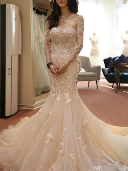 Gorgeous Pink Long Sleeves Applique Mermaid With Train Wedding Dresses, WD1118