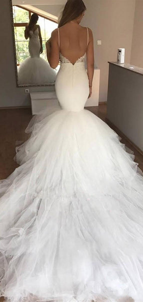 Charming Spaghetti Strap Lace Applique Tulle Mermaid Long Wedding Dresses, WD1119