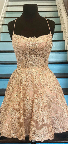 Cute Spaghetti Strap Lace Sleeveless A Line Short Homecoming Dresses, BTW139