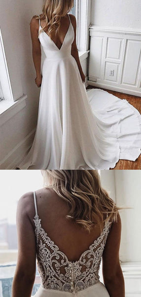 Simple Spaghetti Strap V Neck Lace Back Satin A Line Long Wedding Dresses, WD1104