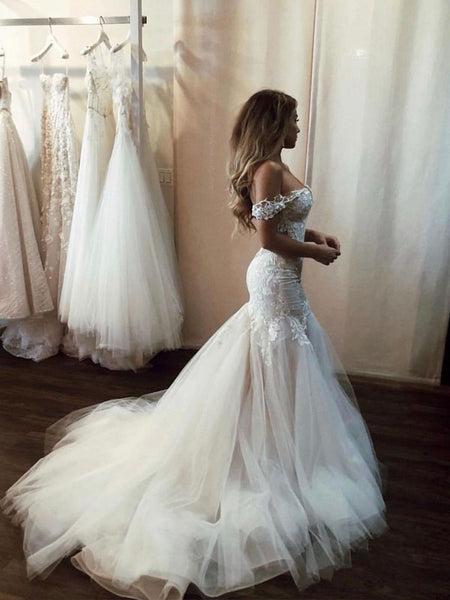 Sexy Off Shoulder V Neck Lace Mermaid With Train Long Wedding Dresses, WD1105