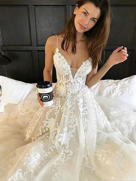Spaghetti Strap Lace Applique Tulle A Line With Train Long Wedding Dresses, WD1115
