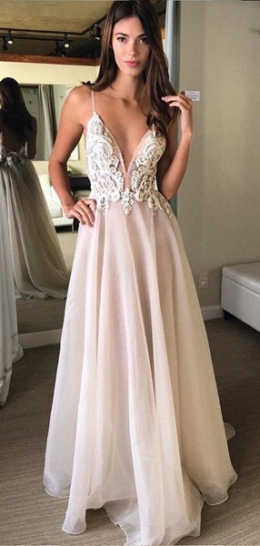 Simple Spaghetti Strap Backless Lace Chiffon Long Beach Wedding Dresses, WD1116
