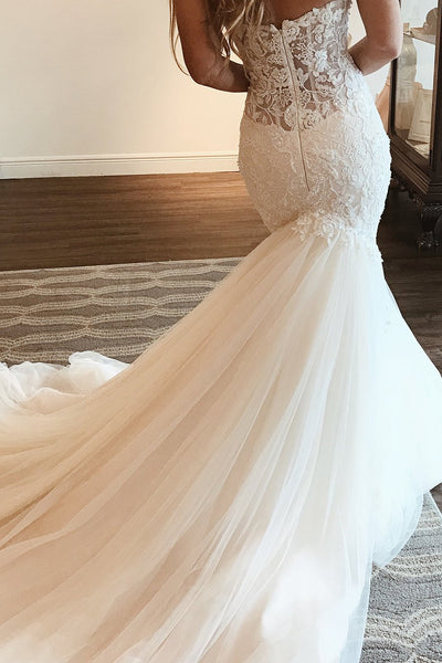 Elegant Sweetheart Strapless Lace Applique Mermaid Long Wedding Dresses, WD1117