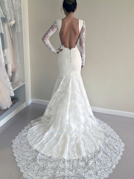 Unique Long Sleeves Backless Round Neck Mermaid Long Wedding Dresses, WD1108
