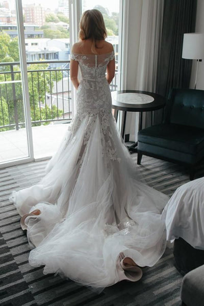 Elegant Off Shoulder Tulle Mermaid With Train Long Wedding Dresses, WD1121
