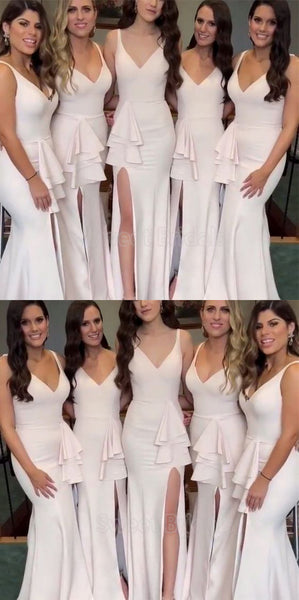 Beautiful V-Neck Side Slit Mermaid Bridesmaid Dresses , SW0080