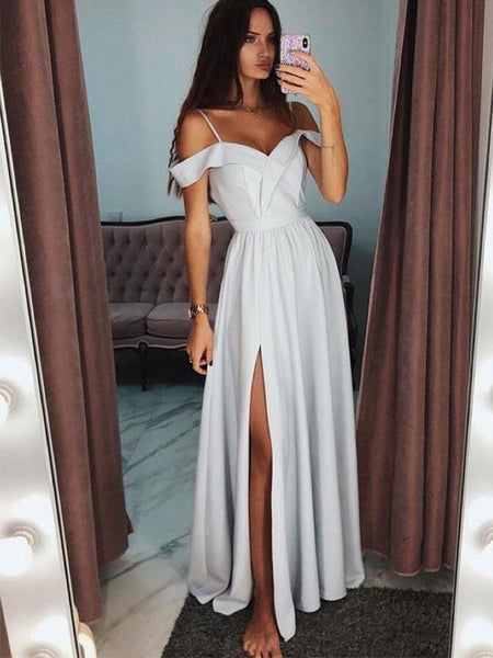 Chic Spaghetti Strap Off the Shoulder Side Slit Long Evening Prom Dresses, BW0609