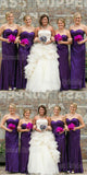 Shinning Purple Sequin Sweet Heart Side Slit Floor Length Bridesmaid Dresses , SW0009