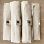 Low Waste Utensil Wrap Set - Canvas and Bamboo - the-source-apparel - cutlery