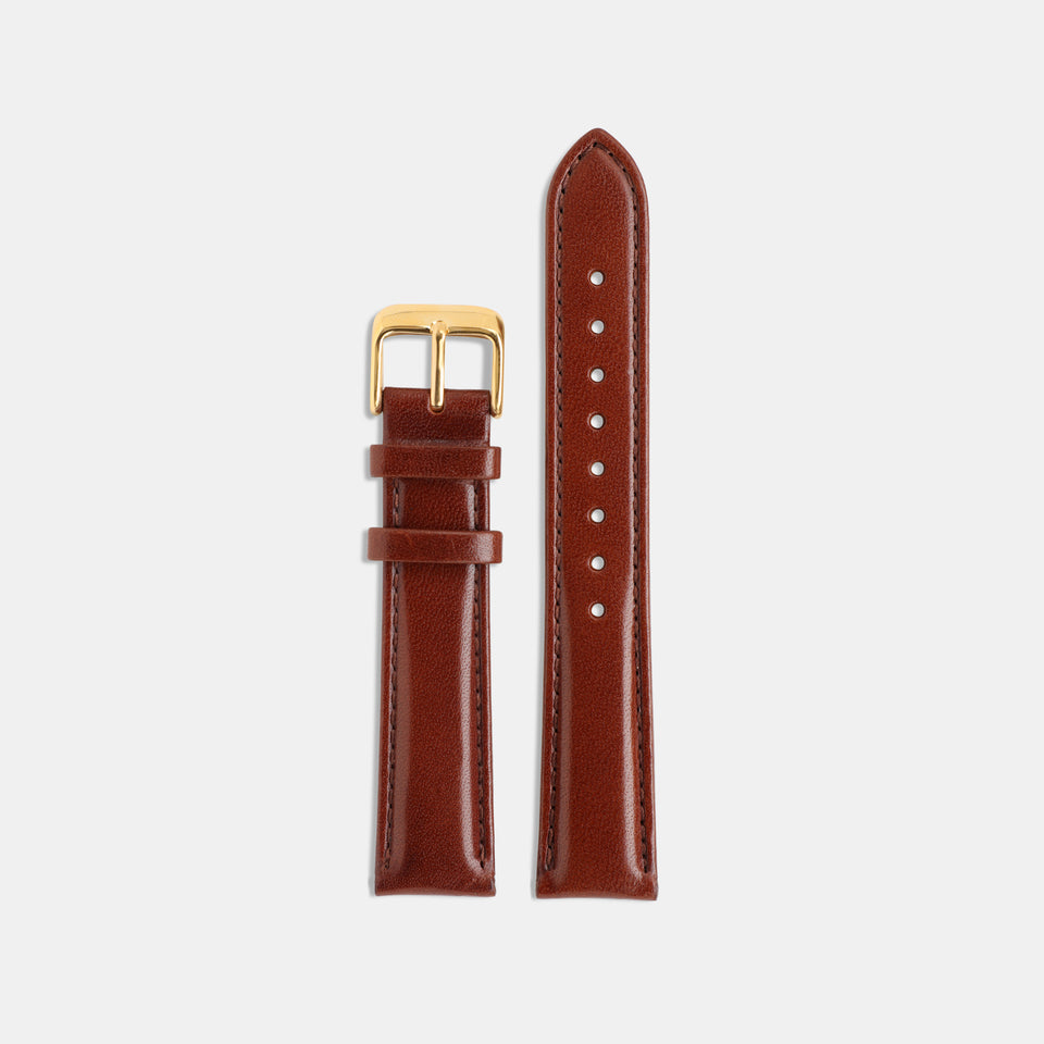 Brown Vegetable Tanned Leather Strap / Gold