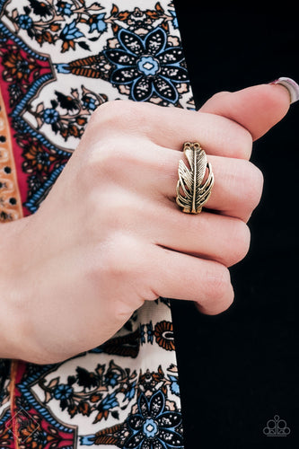 Brushed in an antiqued shimmer, a lifelike brass feather wraps across the finger for a seasonal look. Features a dainty stretchy band for a flexible fit.  Sold as one individual ring.   Always nickel and lead free.