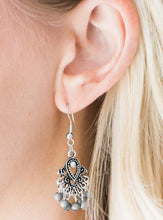 Load image into Gallery viewer, Dainty Neutral Gray beads cascade from the bottom of a dainty silver frame, creating a colorful lure. Earring attaches to a standard fishhook fitting.  Sold as one pair of earrings.  Always nickel and lead free.