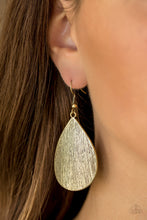 Load image into Gallery viewer, Etched in shimmery scratch textures, a bold brass teardrop swings from the ear for a seasonal look. Earring attaches to a standard fishhook fitting.  Sold as one pair of earrings.  Always nickel and lead free