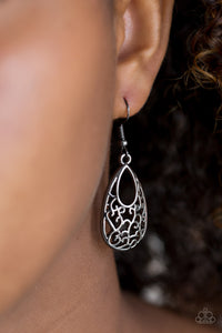 Vine-like filigree climbs a gunmetal teardrop for a whimsical look. Earring attaches to a standard fishhook fitting.  Sold as one pair of earrings.  Always nickel and lead free.